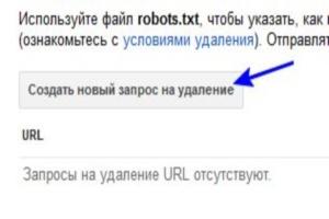 Удаление URL-адресов из индексируемого